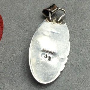 Vintage Jewelry - Vintage Navajo Onyx Sterling Silver Pendant